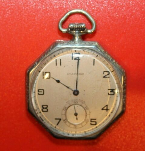 1894 New York Standard  12s 7j POCKET WATCH - WORKING - NICKEL CASE