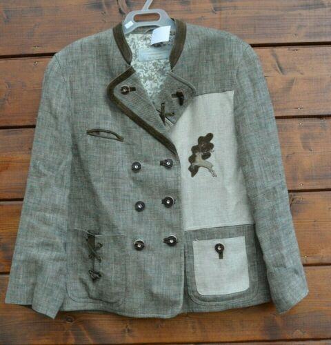 Linen blend Beige Bavarian style Jacket Size 48  Made in Austria