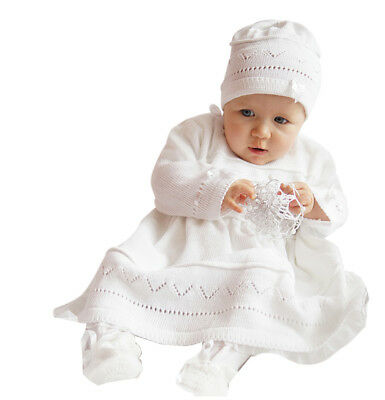 Mädchen Taufe Kleid (Babykleid Taufkleid Strickkleid Festkleid Mädchen Baby Taufe Kleid gestrickt)
