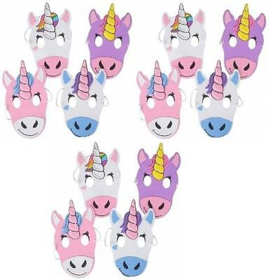 Unicorn Masks (12 Pack) CUTE Halloween and Birthday Mask Party Favors (Halloween Party Masks)