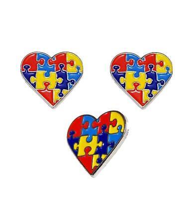 3 Pack Autism Awareness Heart Puzzle Pieces Lapel Hat Pins Raise Awareness 7302](Blue Puzzle Piece Lapel Pin)