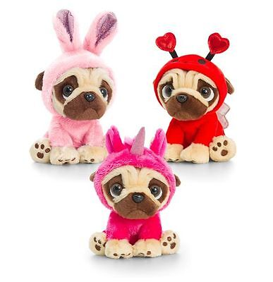 Keel Toys Pugsley14cm Pug Dog in 3 colours costume Cuddly Soft Toy Teddy - Pugsley Costume
