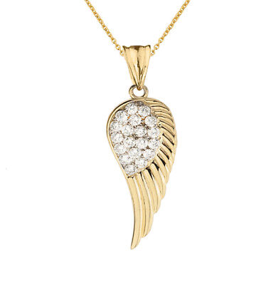 0.50 CTW CZ Angel Wing Pendant Necklace in Yellow (Gold Angel Wing)