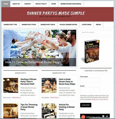 Custom Dinner Party Advice Resource Turnkey Website Business Domain Name