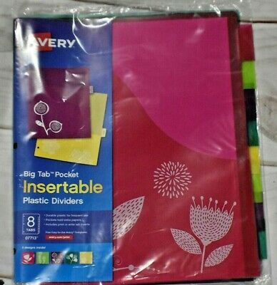 Avery 8-tab Plastic Binder Dividers With Pockets Insertable 5 Designs Big Tabs