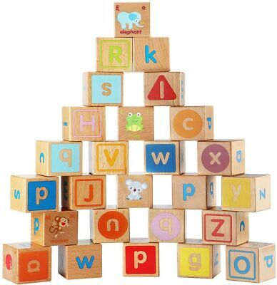 Lewo Wooden ABC Blocks Building Games Extra-Large 26 PCS for Kids Toddlers