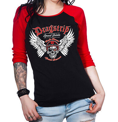 Dragstrip Clothing Women Speed Demon Hot Rod Skull Rockabilly Biker Baseball Top
