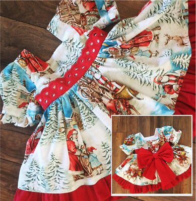 US Vintage Toddler Kids Girls' Christmas Flared Party Santa Swing Dress Clothes](Kids Santa Dress)
