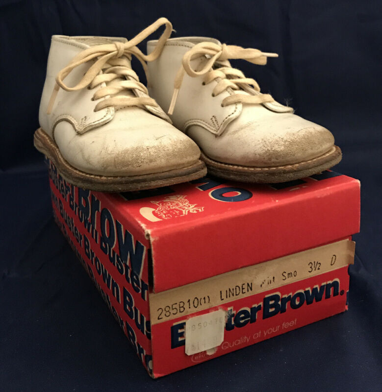 Vintage Buster Brown White Baby Shoes W/ Box Linden Size 3 1/2