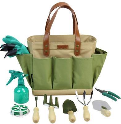 Garden Tool Organizer Tote Bag with 10 Piece Garden Tools,Best Gardening Gift  ()