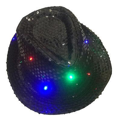 1x Flashing LED Sequin Black Bowler Hat - Red, Green, Blue - Fancy Dress Top - Top Hat Flashing
