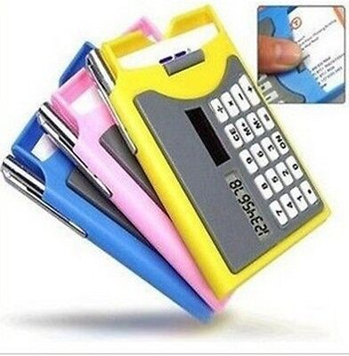 Business Card Holder With Solar Calculator And Mini Pen Pink Or Yellow