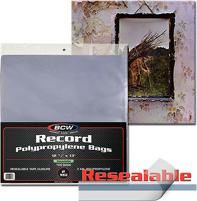 """100 BCW Record Sleeves Resealable Plastic Bag Outer 33 RPM LP Covers Album 12"""""""