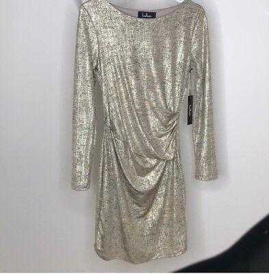 Gold Metallic Lulu Time off Dress women-BRAND NEW! Medium