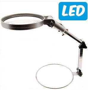 Lente di ingrandimento da tavolo pieghevole con luce a led - Specchio con lente di ingrandimento ...