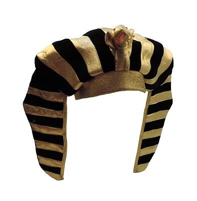 Egyptian Pharaoh Headdress Adult Gold Lamé King Tut Crown Hat with Snake (Pharaoh Hat)