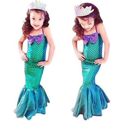 Kinder Mädchen Meerjungfrau Kostüm Mermaid Schwanz Glitzer Dress - Kleine Meerjungfrau Kostüme