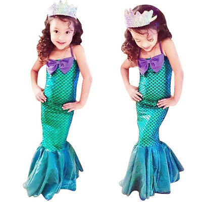 Halloween Mermaid Cosplay Long Dress Fish Scale Fancy Costume for Baby Kid Girl - Mermaid Costume For Baby