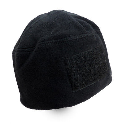 Rothco Men's Polar Fleece Tactical Watch Cap Hat Beanie With Velcro Patch Black Tactical Watch Cap
