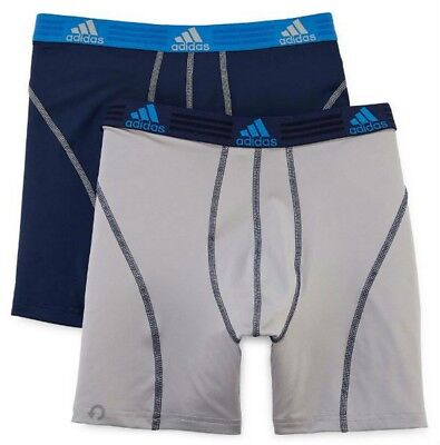 Adidas Mens Sport Performance Boxer Briefs Climalite (2 Pack) Navy/Gray