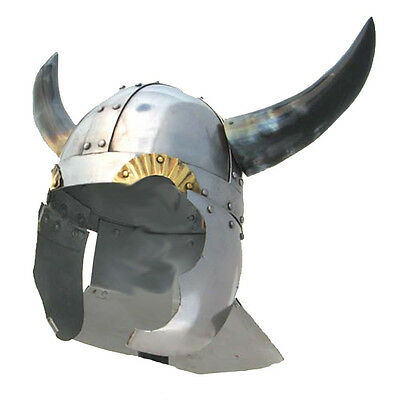 Viking Warrior Helmet with Real Horns - Medieval Costume