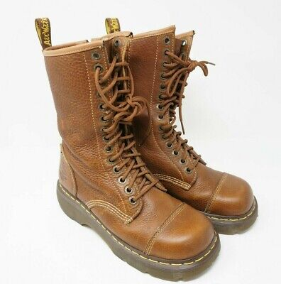 Doc Dr Martens Club Miranda Leather Tall Boots Womens Size 8 M US Brown Side Zip Doc Martens Club