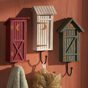 Country-Rustic-Whimsical-Outhouse-Bathroom-Wall-Hooks-Hanger-Bath-Decor