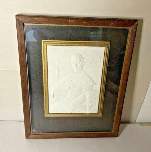 Vintage Pope Benedict XV Plaster Relief Sculpture Plaque in Frame