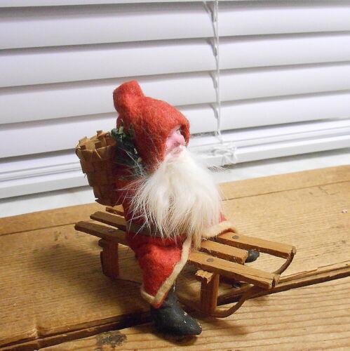 Germany Santa on Wooden Sled - Basket on his Back