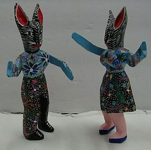 Oaxacan Wood Carving Dancing Rabbits Alebrije Ventura Fabian, Mexican Folk Art