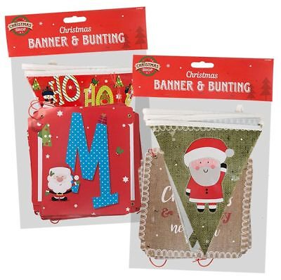 Christmas Bunting Flags and Banner Set Santa Father Xmas Snowman Party (Christmas Party Banner)