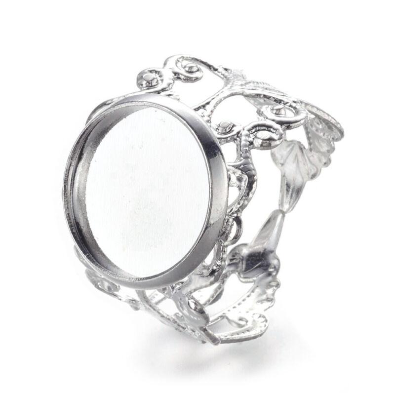 5x Brass Filigree Cuff Rings Blanks w/ Round Bezel Setting Cups Silver 12mm Tray