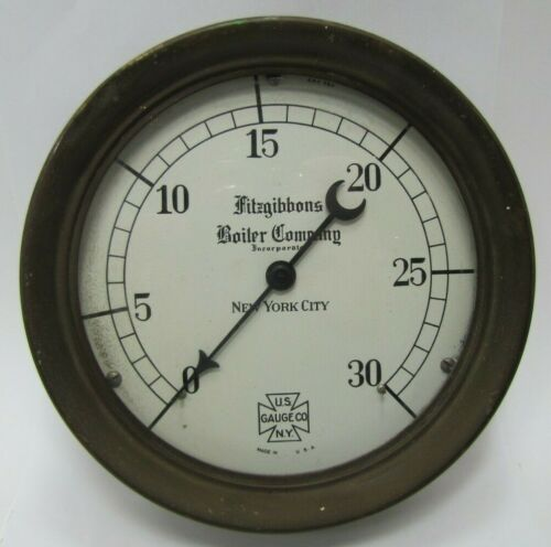 FITZGIBBONS BOILER COMPANY US GAUGE Co NY NEW YORK CITY Old Industrial Steampunk