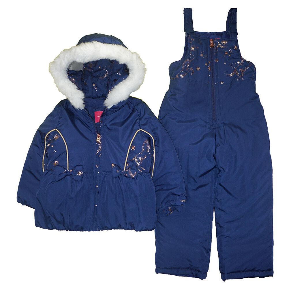 London Fog Girls Navy & Gold 2pc Snowsuit Size 2T 3T 4T 4 5/