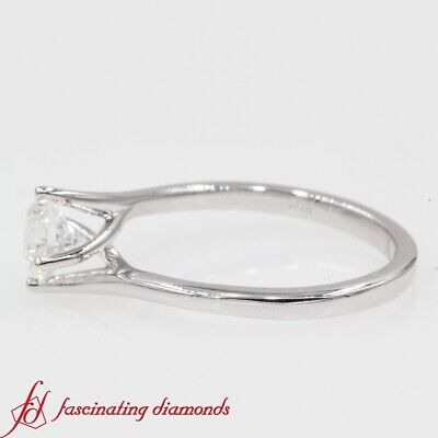 3/4 Carat Round Cut Diamond Solitaire Twisted Engagement Ring In 18K White Gold 1