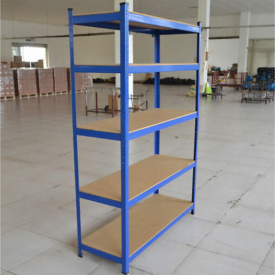 5 Tier Heavy Duty Boltless Metal Shelving Shelves Storage Shelf Garage Home Blue