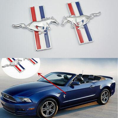 2pcs Running Horse Emblem Door Fender Badge Sticker Chrome for Ford Mustang