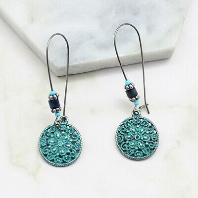 Round Engraved Dangle Drop Earrings Vintage Boho  Turquoise Colour for Women UK