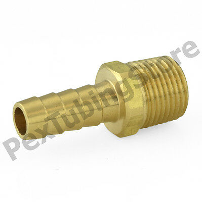 "1/2"" Hose Barb x 1/2"" Male NPT Brass Adapter Threaded Fitting, Fuel/Water/Air"