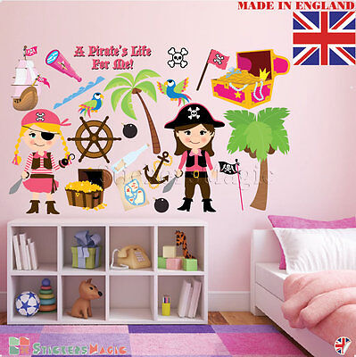 Pirate Girls Wall Stickers Childrens Kids Room Bedroom Nursery Decor Decal Vinyl ()