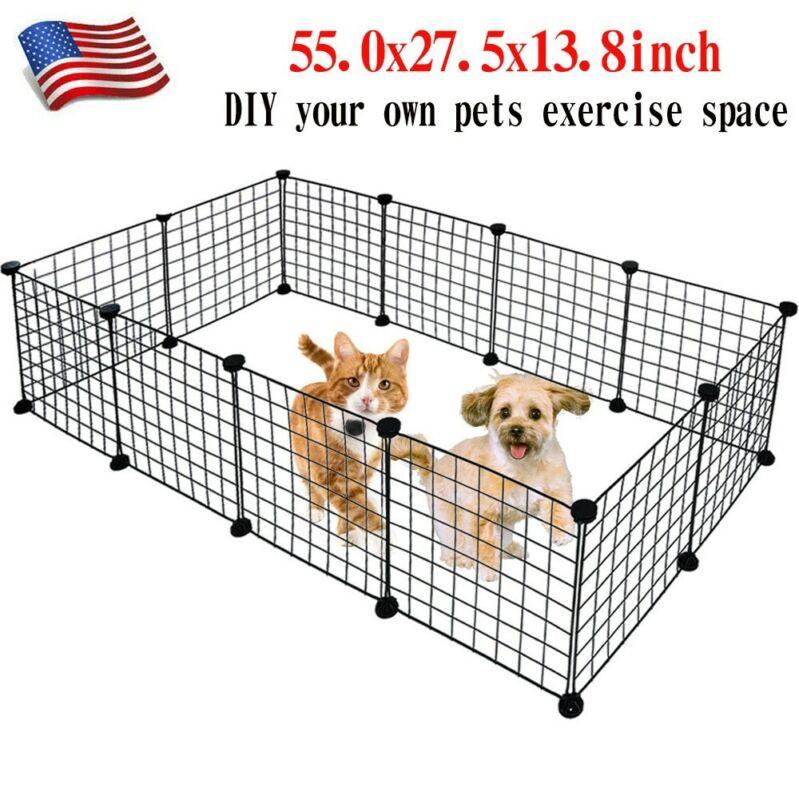 DIY Space Metal Pet Playpen Dog Kennel Pets Fence Exercise C