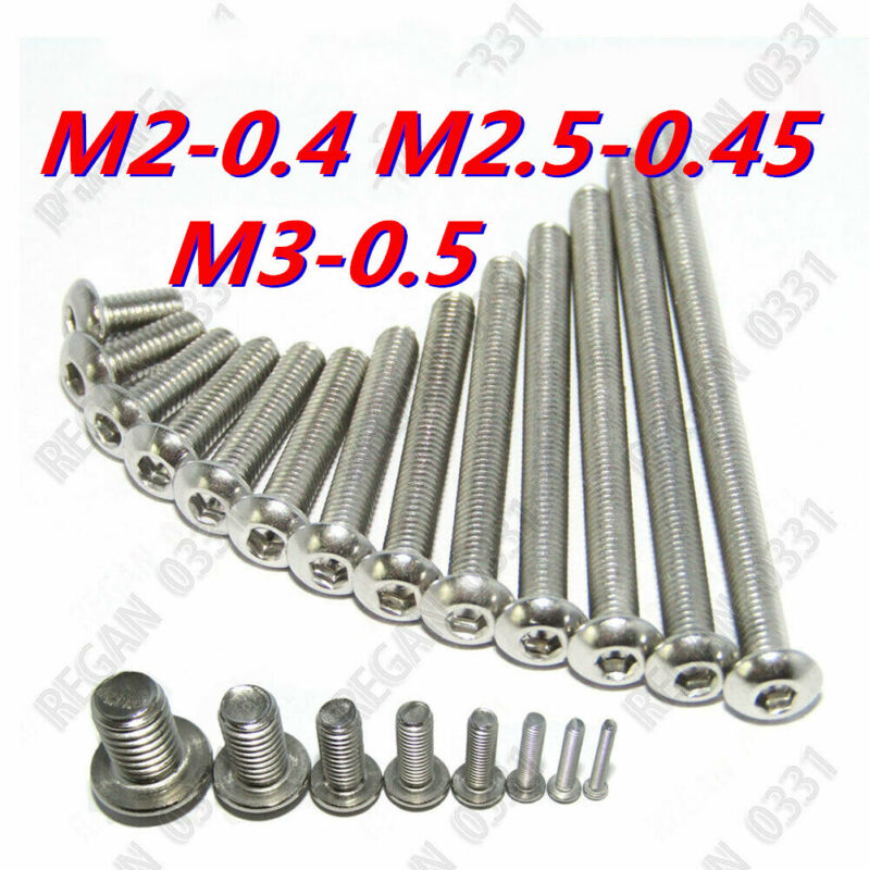 M2 / M2.5 / M3 Stainless Steel Allen Hex Socket Button Head Screws Bolt ISO7380