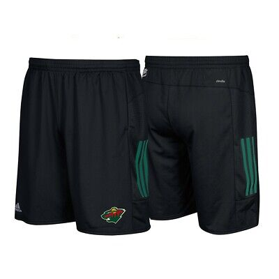 Minnesota Wild NHL Adidas Climalite 3-Stripes Black Center Ice Shorts ()
