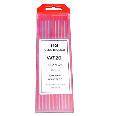 Tig Welding Tungsten Electrodes 10-pack 2 Thoriated 332 X 7 Red Wt20
