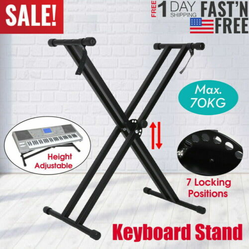 2021 PRO Adjustable Dual X Music Keyboard Electric Piano Rack Stand Metal KS-DBL
