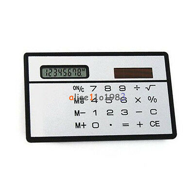 2PCS 8 Digits Ultra Thin Mini Slim Credit Card Solar Power Pocket Calculator