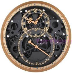 Moving Gear Wall Clock Creative Art Decor Retro Roman Wall Watch Black 13.8