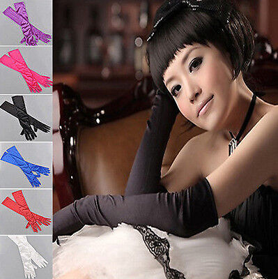 Fashion Elbow-length Gloves Wedding Evening Party Prom Costume Satin Gloves US](Elbow Length Gloves)