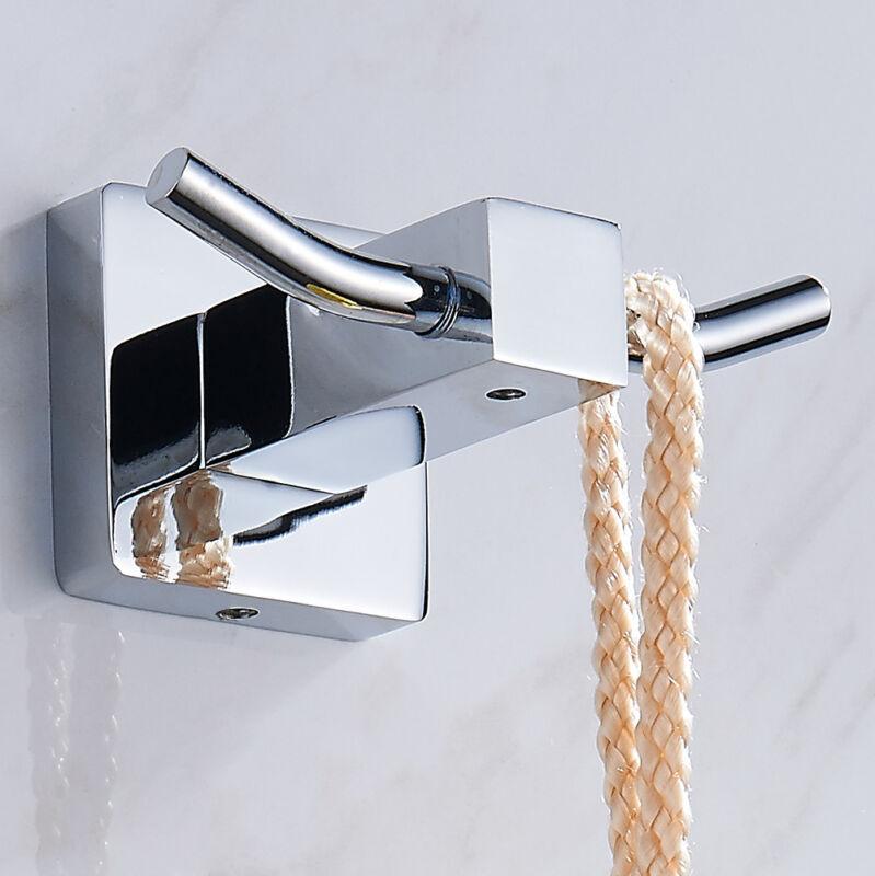 Square Double Robe Hook Towel Holder Bathroom Chrome Brass W