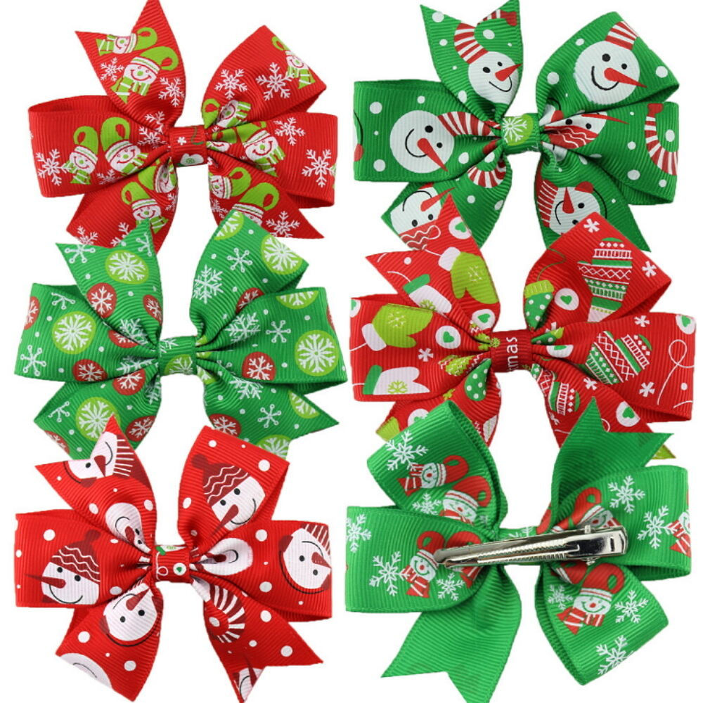 6Pics Girl Christmas Holiday Gift  Snowflake Ribbon Hair Bows Clip Girl Hairpin Baby